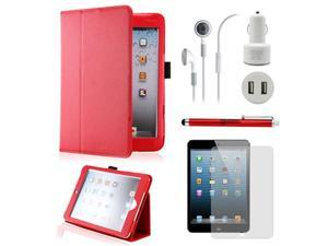 5 in 1 Accessories Bundle Red Case Travel Business Combo for iPad Mini and iPad Mini with Retina Display
