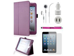 5 in 1 Accessories Bundle Purple Case Travel Business Combo for iPad Mini and iPad Mini with Retina Display