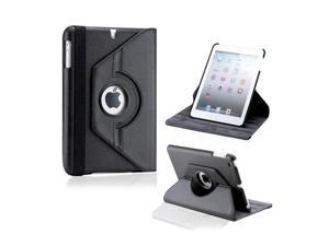 Black 360 Degree Rotating PU Leather Case Smart Cover Swivel Stand for iPad Mini and 2013 iPad Mini with Retina Display