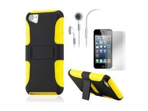 iPod Touch 5 Black Yellow 2-Piece PC TPU Case Stand w/ Screen Guard Protectors and Earphone