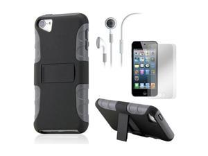 iPod Touch 5 Black Gray 2-Piece PC TPU Case Stand w/ Screen Guard Protectors and Earphone
