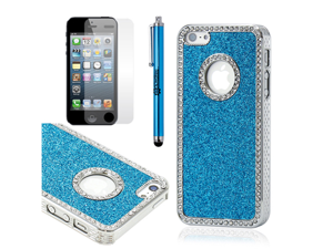Blue Luxury Bling Glitter Chrome Crystal Rhinestones Hard Back Case for iPhone 5 + Stylus Pen and Screen Protector