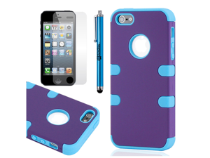 3 Piece Purple Blue Hybrid Hard PC Soft Silicone Back Case Cover for iPhone 5 + Stylus Pen and Screen Protector