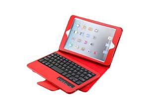 iPad Mini PU Leather Case Stand with Removable Bluetooth Keyboard (Red)