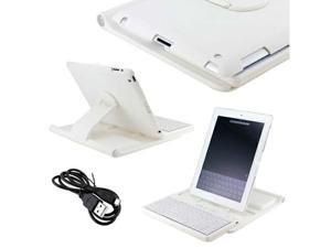 White Hard PC with Rubberized Coating 360 Rotating Stand Case Bluetooth Keyboard for iPad 4 3 2