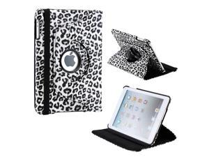 Black White Leopard Pattern 360 Degree Rotating PU Leather Case Smart Cover Swivel Stand for iPad Mini and 2013 iPad Mini ...