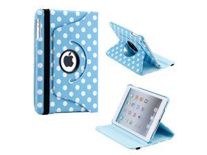 Blue/White Polka Dot 360 Degree Rotating Dual Layer PU Leather Case W/smart Cover function for The New iPad Mini and 2013 ...