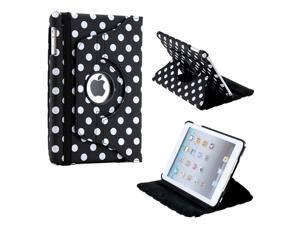 Black/White Polka Dot 360 Degree Rotating Dual Layer PU Leather Case W/smart Cover function for The New iPad Mini and 2013 ...