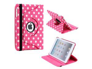 Pink/White Polka Dot 360 Degree Rotating Dual Layer PU Leather Case W/smart Cover function for The New iPad Mini and 2013 ...