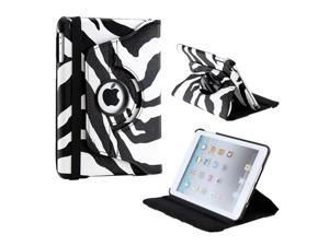 Black White Zebra Pattern 360 Degree Rotating PU Leather Case Smart Cover Swivel Stand for iPad Mini and 2013 iPad Mini with ...