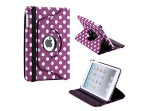 Purple/White Polka Dot 360 Degree Rotating Dual Layer PU Leather Case W/smart Cover function for The New iPad Mini and 2013 ...