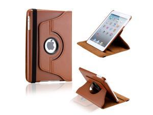 Brown 360 Degree Rotating PU Leather Case Smart Cover Swivel Stand for iPad Mini and 2013 iPad Mini with Retina Display