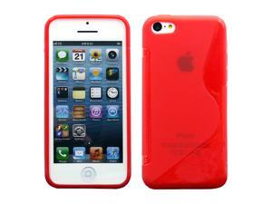 Red S Shape 2 Tone Soft TPU Gel Case Back Cover Skin compatible with Apple® iPhone® 5C