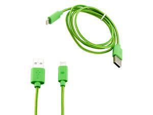 8-pin to USB Lightning Fabric Braided Charger Sync Cord Cable 3 ft for Apple® iPhone® 5 iPad 4 iPad Mini iPod Touch 5 - Green