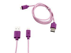 8-pin to USB Lightning Fabric Braided Charger Sync Cord Cable 3 ft for Apple® iPhone® 5 iPad 4 iPad Mini iPod Touch 5 - Purple
