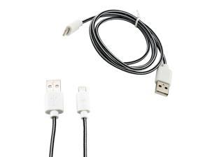 8-pin to USB Lightning Fabric Braided Charger Sync Cord Cable 3 ft for Apple® iPhone® 5 iPad 4 iPad Mini iPod Touch 5 - White