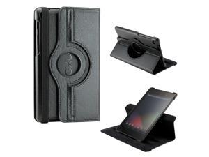 Black 360 Degree Rotating Sleep Wake PU Leather Case Cover Swivel Stand for New 2013 Nexus 7 2nd Generation
