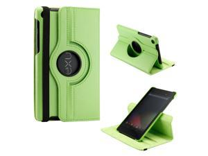 Green 360 Degree Rotating Sleep Wake PU Leather Case Cover Swivel Stand for New 2013 Nexus 7 2nd Generation