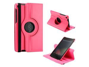Hot Pink 360 Degree Rotating Sleep Wake PU Leather Case Cover Swivel Stand for New 2013 Nexus 7 2nd Generation
