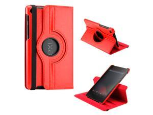Red 360 Degree Rotating Sleep Wake PU Leather Case Cover Swivel Stand for New 2013 Nexus 7 2nd Generation