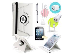 Gearonic ™ White 360 Degree Rotating PU Leather Case Smart Cover Swivel Stand for iPad Mini/ Mini 2 Retina Display