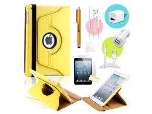 Gearonic ™ Yellow 360 Degree Rotating PU Leather Case Smart Cover Swivel Stand for iPad Mini/ Mini 2 Retina Display