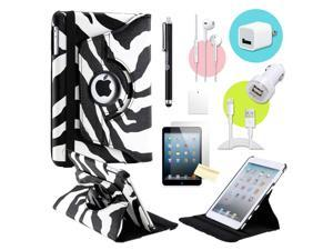 Gearonic ™ Zebra 360 Degree Rotating PU Leather Case Smart Cover Swivel Stand for iPad Mini/ Mini 2 Retina Display