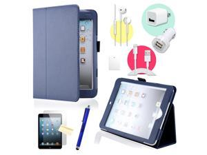 Gearonic ™ Dark Blue Magnetic PU Leather Folio Stand Case Smart Cover Stylus Holder for iPad Mini / Mini 2 retina display