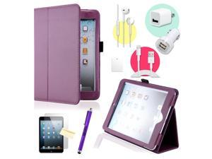Gearonic ™ Purple Magnetic PU Leather Folio Stand Case Smart Cover Stylus Holder for iPad Mini / Mini 2 retina display