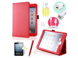 Gearonic ™ Red Magnetic PU Leather Folio Stand Case Smart Cover Stylus Holder for iPad Mini / Mini 2 retina display