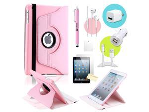 Gearonic ™ Pink 360 Degree Rotating PU Leather Case Smart Cover Swivel Stand for iPad Mini/ Mini 2 Retina Display