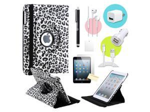 Gearonic ™ Black Leapard 360 Degree Rotating PU Leather Case Smart Cover Swivel Stand for iPad Mini/ Mini 2 Retina Display