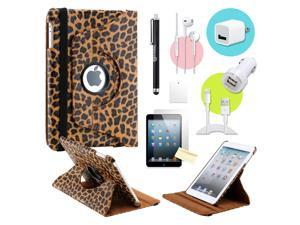 Gearonic ™ Brown Leopard 360 Degree Rotating PU Leather Case Smart Cover Swivel Stand for iPad Mini/ Mini 2 Retina Display