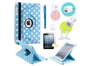 Gearonic ™ Light blue Polkadot 360 Degree Rotating PU Leather Case Smart Cover Swivel Stand for iPad Mini/ Mini 2 Retina ...