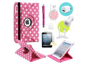 Gearonic ™ Pink PolkaDot 360 Degree Rotating PU Leather Case Smart Cover Swivel Stand for iPad Mini/ Mini 2 Retina Display