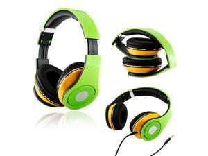 Gearonic ™ Adjustable Circumaural Over-Ear Earphone Stero Headphone 3.5mm for iPod MP3 MP4 PC iPhone Music - Green and Yellow