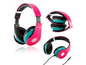 Gearonic ™ Adjustable Circumaural Over-Ear Earphone Stero Headphone 3.5mm for iPod MP3 MP4 PC iPhone Music - Hot Pink and ...