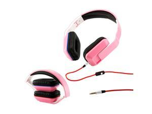 Gearonic ™ Adjustable Foldable Rectangular Over-Ear Earphone Headphones for iPod iPad iPhone Android MP3 MP4 PC Music - Pink