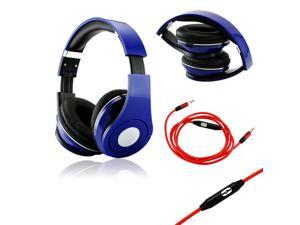 GEARONIC TM Blue Adjustable Circumaural Over-Ear Earphone Stero Headphone 3.5mm with Microphone Cable for iPod MP3 MP4 PC ...