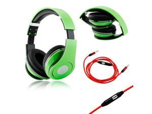 GEARONIC TM Green Adjustable Circumaural Over-Ear Earphone Stero Headphone 3.5mm with Microphone Cable for iPod MP3 MP4 PC ...