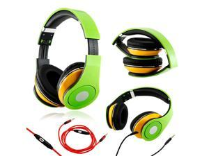 GEARONIC TM Green / Yellow Adjustable Circumaural Over-Ear Earphone Stero Headphone 3.5mm with Microphone Cable for iPod ...