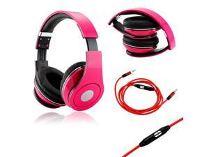 GEARONIC TM Hot Pink Adjustable Circumaural Over-Ear Earphone Stero Headphone 3.5mm with Microphone Cable for iPod MP3 MP4 ...