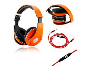 GEARONIC TM Orange Adjustable Circumaural Over-Ear Earphone Stero Headphone 3.5mm with Microphone Cable for iPod MP3 MP4 ...