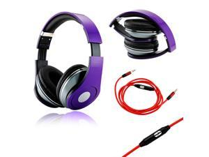 GEARONIC TM Purple Adjustable Circumaural Over-Ear Earphone Stero Headphone 3.5mm with Microphone Cable for iPod MP3 MP4 ...