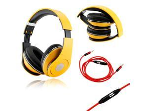 GEARONIC TM Yellow Adjustable Circumaural Over-Ear Earphone Stero Headphone 3.5mm with Microphone Cable for iPod MP3 MP4 ...