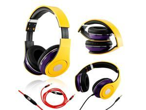 GEARONIC TM Yellow / Purple Adjustable Circumaural Over-Ear Earphone Stero Headphone 3.5mm with Microphone Cable for iPod ...