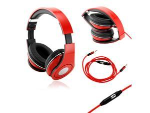 GEARONIC TM Red Adjustable Circumaural Over-Ear Earphone Stero Headphone 3.5mm with Microphone Cable for iPod MP3 MP4 PC ...