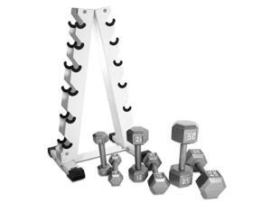 CAP Barbell 210 lb Rubber Coated Dumbbell Set w/ Rack
