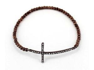 Brown Thin Sideways Crystal Cross Stretch Fashion Bracelet
