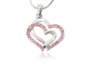 Silver & Pink Crystal Double Heart Charm Pendant Necklace